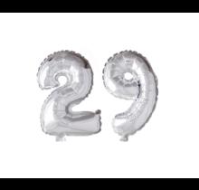 Folieballon 29 jaar zilver 41cm
