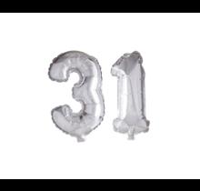 Folieballon 31 jaar zilver 41cm