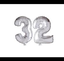 Folieballon 32 jaar zilver 41cm