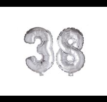 Folieballon 38 jaar zilver 41cm