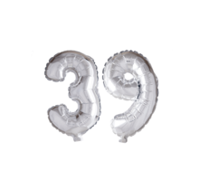 Folieballon 39 jaar zilver 41cm