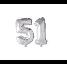 Folieballon 51 jaar zilver 41cm