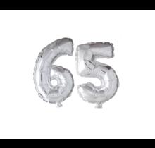 Folieballon 65 jaar zilver 41cm