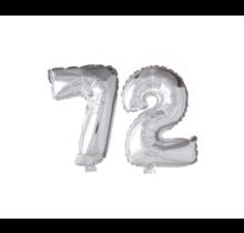 Folieballon 72 jaar zilver 41cm