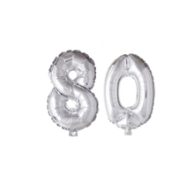 Folieballon 80 jaar zilver 41cm