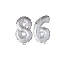 Folieballon 86 jaar zilver 41cm