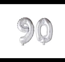 Folieballon 90 jaar zilver 41cm