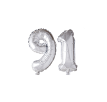 Folieballon 91 jaar zilver 41cm