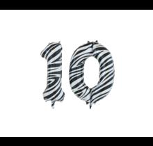 Folieballon 10 jaar zebra 86cm