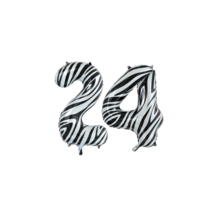 Folieballon 24 jaar zebra 86cm