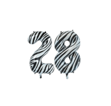 Folieballon 28 jaar zebra 86cm