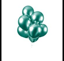 Chrome spiegel ballon groen 10 stuks