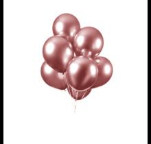 Chrome spiegel ballon rosé goud 10 stuks