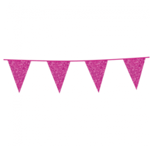 6 meter roze glitter vlaggenlijn