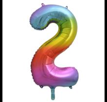 Folieballon 2 jaar Regenboog 41cm