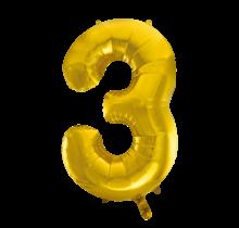 Folieballon 3 jaar Goud 86cm