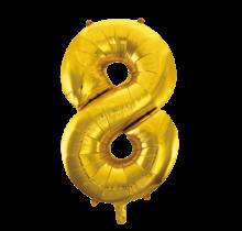 Folieballon 8 jaar Goud 86cm