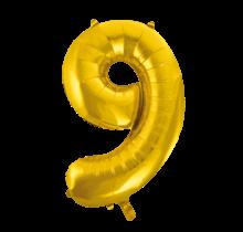 Folieballon 9 jaar Goud 86cm