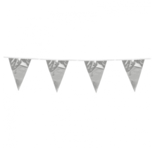 10 meter metallic zilveren vlaggenlijn