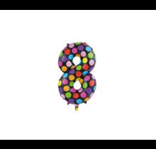 Folieballon 8 jaar stippen 86cm