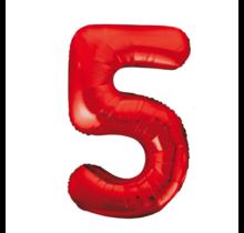Folieballon 5 jaar rood 86cm