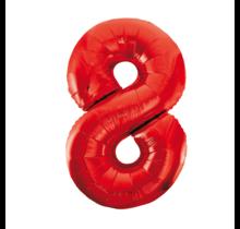 Folieballon 8 jaar rood 86cm