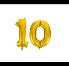 Folieballon 10 jaar Goud 41cm