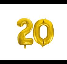 Folieballon 20 jaar Goud 41cm