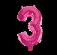 Folieballon 3 jaar roze 86cm