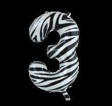 Folieballon 3 jaar zebra 86cm