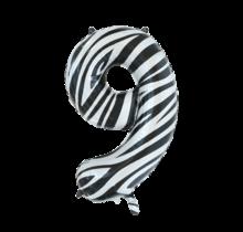 Folieballon 9 jaar zebra 86cm