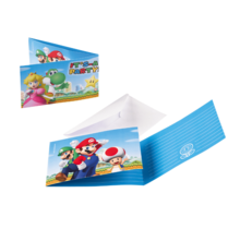 8 uitnodigingen met envelop Super Mario