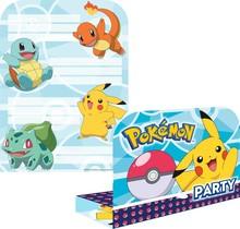 8 uitnodigingen en envelop Pokemon