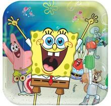 8 vierkante papieren borden SpongeBob
