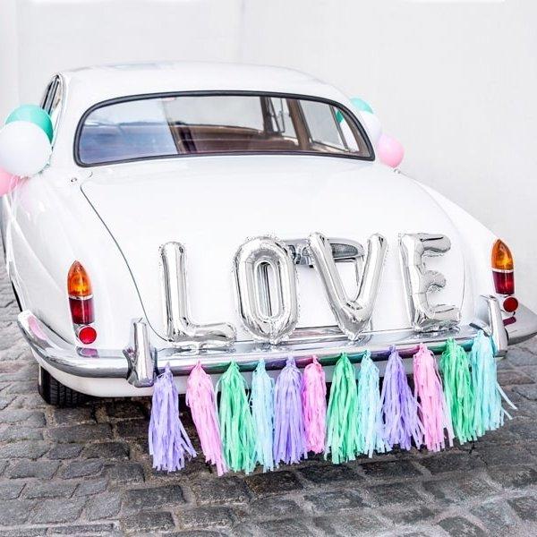 Feest Vieren Auto Decoratie Set Love Zilver