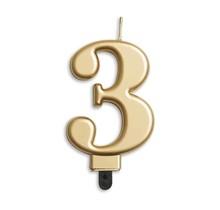 Cijfer kaars metallic Goud 3