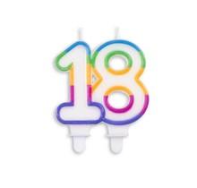 Cijfer kaars gekleurd 18 jaar