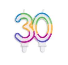 Cijfer kaars gekleurd 30 jaar