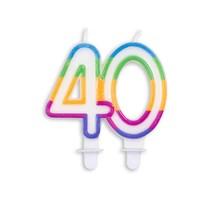 Cijfer kaars gekleurd 40 jaar