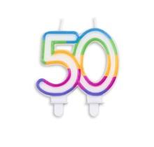 Cijfer kaars gekleurd 50 jaar