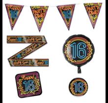 16 jaar verjaardag versiering pakket Neon