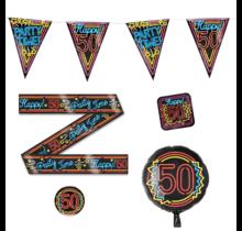 50 jaar verjaardag versiering pakket NEON