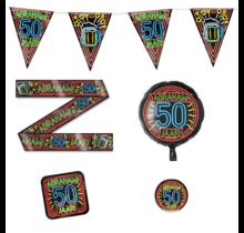 Abraham 50 jaar verjaardag versiering pakket NEON