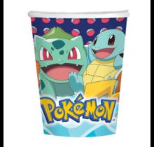 8 papieren bekers Pokemon, 250ml