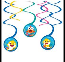 Baby Shark Swirl spiraal decoratie, 6 stuks