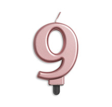 Cijfer kaars metallic Rosé Goud 9