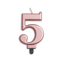 Cijfer kaars metallic Rosé Goud 5