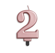 Cijfer kaars metallic Rosé Goud 2