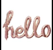 "Folieballon (1 woord) ""Hello"" Rosé Goud"