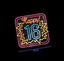 Deurbord - 16 jaar - Neon